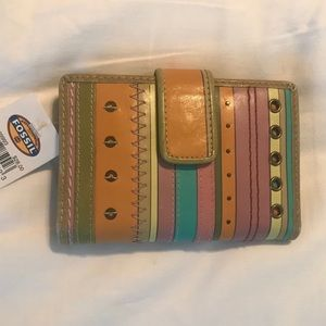 Fossil Wallet, Leather Stripe